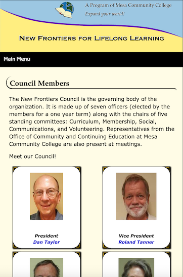 New Frontiers Council Page for Tablet