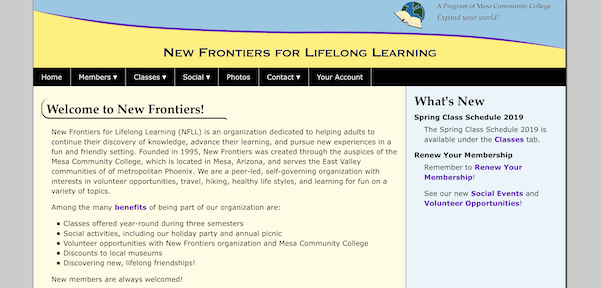 New Frontiers Home Page
